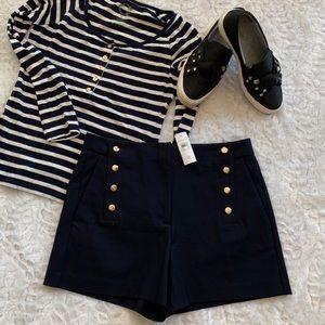Ann Taylor Navy Sailor Shorts w/Gold Button Detail